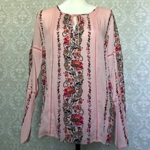 Tribal pink floral long sleeve blouse P/S
